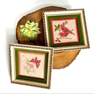 Set 2 Art Embroidered Needlepoint Framed Picture